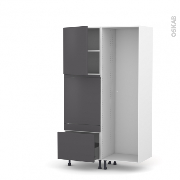 GINKO Gris - Colonne Lave vaisselle - Full Intégrable - L60xH195xP58