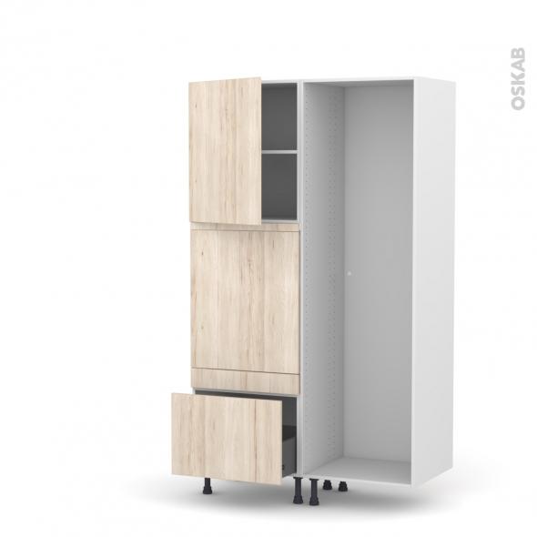 Colonne de cuisine - Lave vaisselle full intégrable - IKORO Chêne clair - L60 x H195 x P58 cm