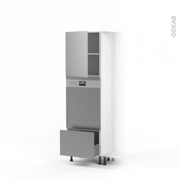 STILO Inox - Colonne Lave vaisselle - Full Intégrable - L60xH195xP58