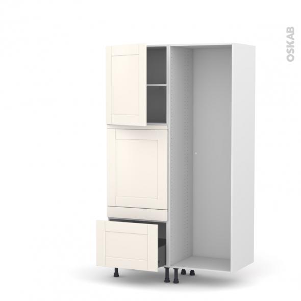 Colonne de cuisine - Lave vaisselle full intégrable - FILIPEN Ivoire - L60 x H195 x P58 cm