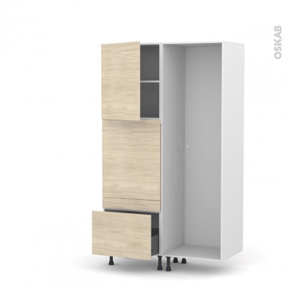 Colonne de cuisine - Lave vaisselle full intégrable - STILO Noyer Blanchi - L60 x H195 x P58 cm