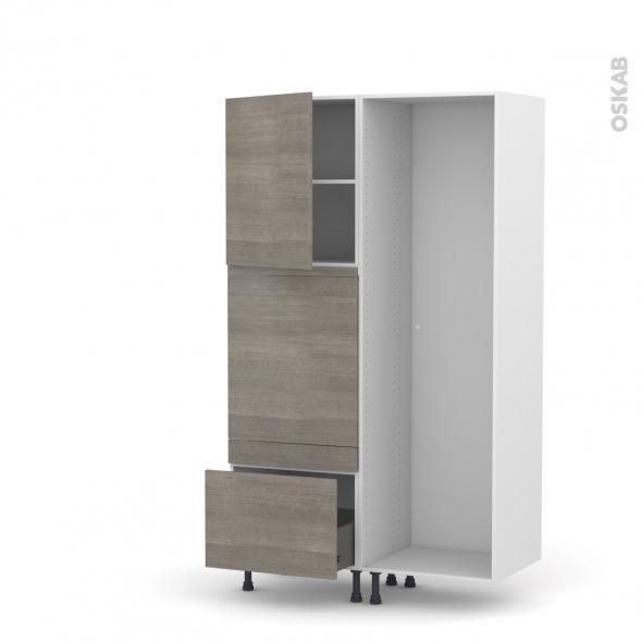 Colonne de cuisine - Lave vaisselle full intégrable - STILO Noyer Naturel - L60 x H195 x P58 cm