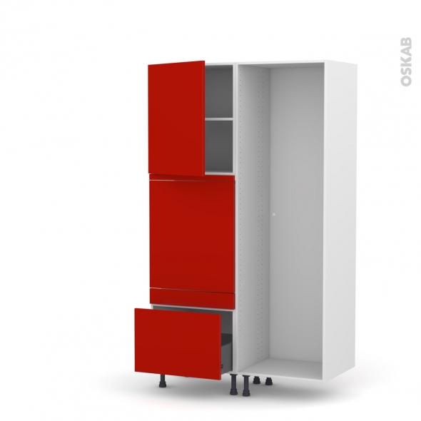 GINKO Rouge - Colonne Lave vaisselle - Full Intégrable - L60xH195xP58