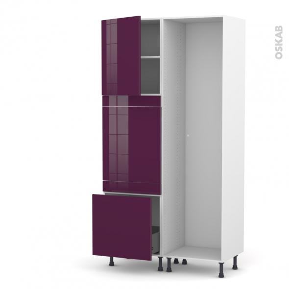 KERIA Aubergine - Colonne Lave vaisselle - Full Intégrable - L60xH217xP58