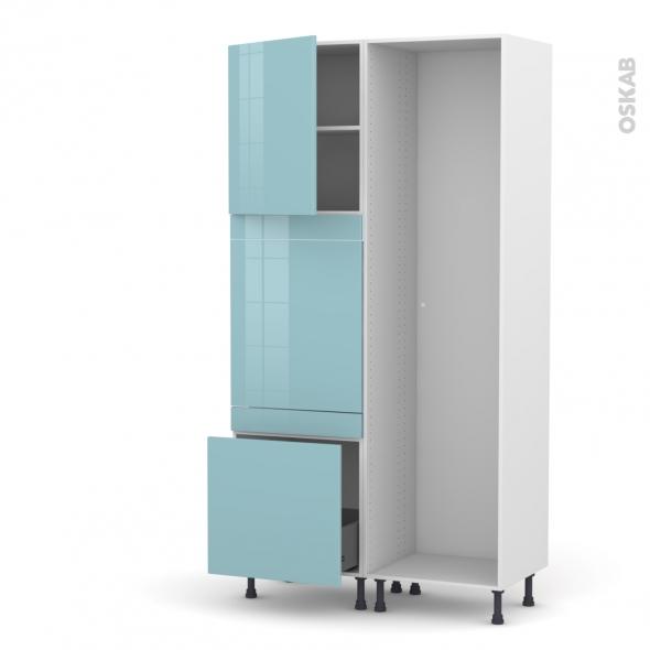 Colonne de cuisine - Lave vaisselle full intégrable - KERIA Bleu - L60 x H217 x P58 cm