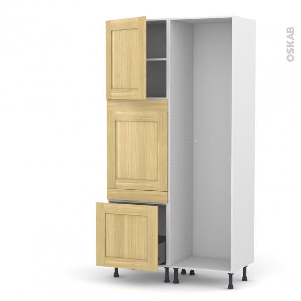 BASILIT Bois Brut - Colonne Lave vaisselle - Full Intégrable - L60xH217xP58