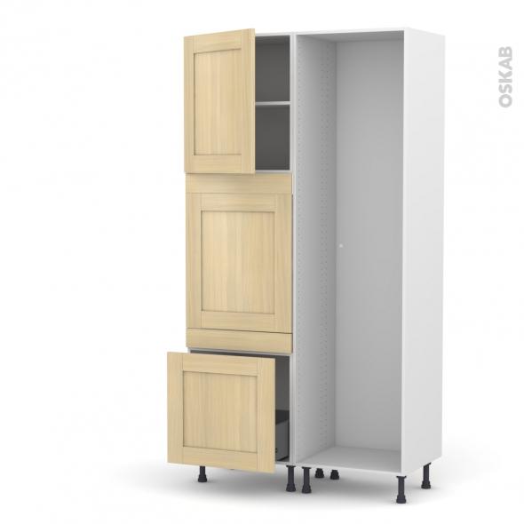BASILIT Bois Vernis - Colonne Lave vaisselle - Full Intégrable - L60xH217xP58