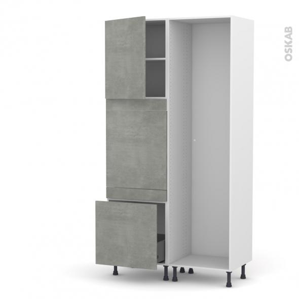 Colonne de cuisine - Lave vaisselle full intégrable - FAKTO Béton -  - L60 x H217 x P58 cm