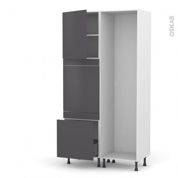 Colonne de cuisine - Lave vaisselle full intégrable - GINKO Gris - L60 x H217 x P58 cm