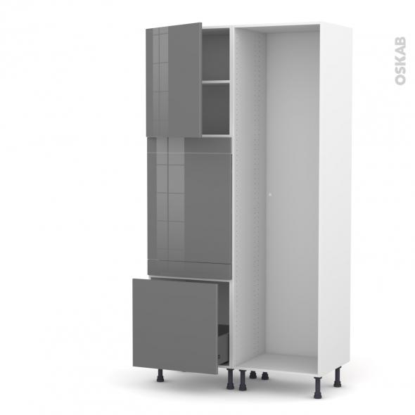 STECIA Gris - Colonne Lave vaisselle - Full Intégrable - L60xH217xP58