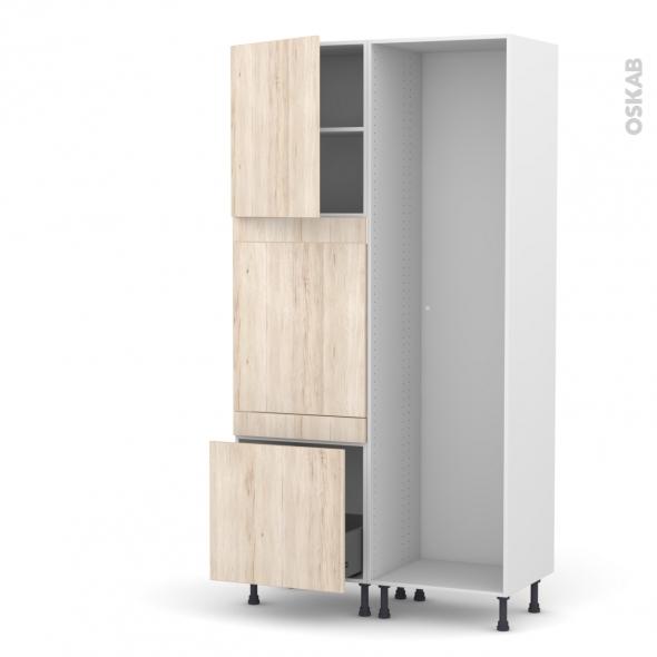 Colonne de cuisine - Lave vaisselle full intégrable - IKORO Chêne clair -  - L60 x H217 x P58 cm