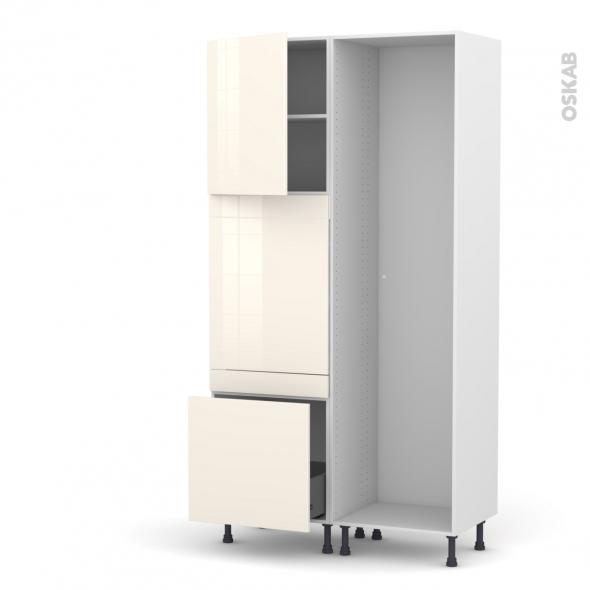 Colonne de cuisine - Lave vaisselle full intégrable - KERIA Ivoire - L60 x H217 x P58 cm