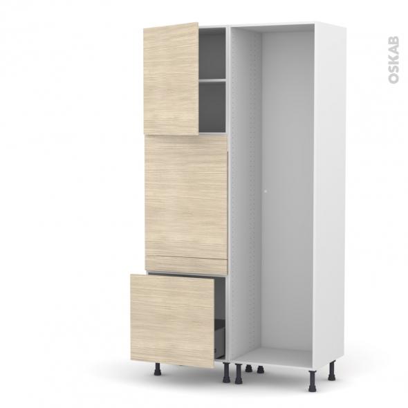Colonne de cuisine - Lave vaisselle full intégrable - STILO Noyer Blanchi - L60 x H217 x P58 cm