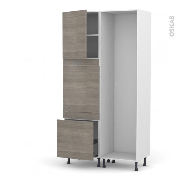 STILO Noyer Naturel - Colonne Lave vaisselle - Full Intégrable - L60xH217xP58