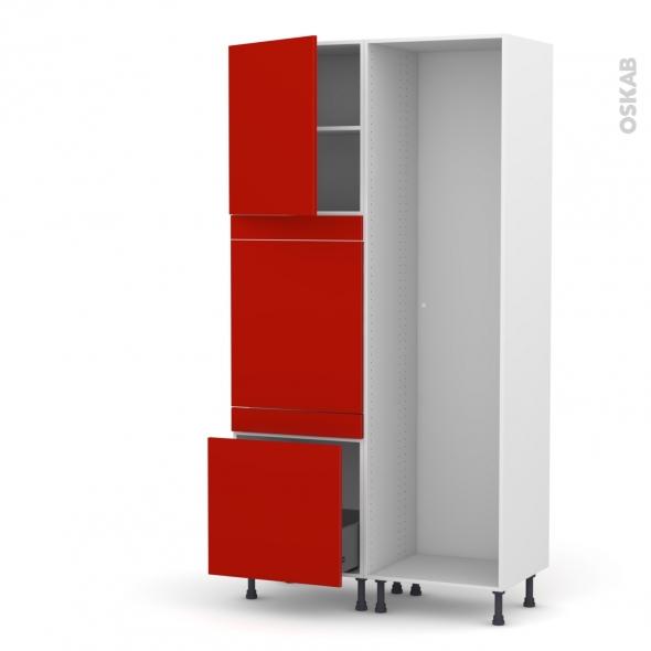 GINKO Rouge - Colonne Lave vaisselle - Full Intégrable - L60xH217xP58