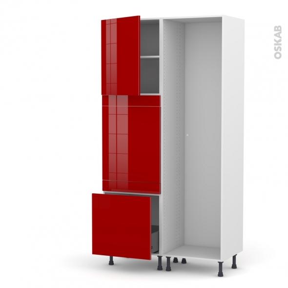 Colonne de cuisine - Lave vaisselle full intégrable - STECIA Rouge - L60 x H217 x P58 cm