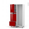 STECIA Rouge - Colonne Lave vaisselle - Intégrable - L60xH195xP58