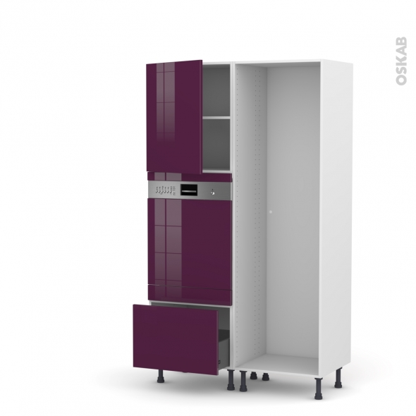 Colonne de cuisine - Lave vaisselle intégrable - KERIA Aubergine - L60 x H195 x P58 cm
