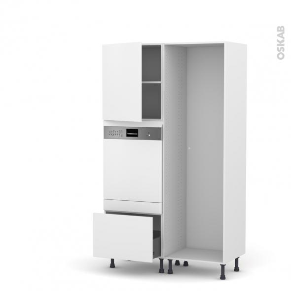 GINKO Blanc - Colonne Lave vaisselle - Intégrable - L60xH195xP58