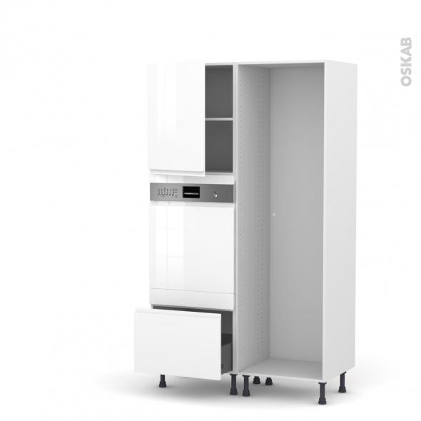 Colonne de cuisine - Lave vaisselle intégrable - IPOMA Blanc brillant - L60 x H195 x P58 cm