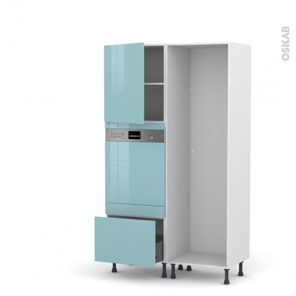 KERIA Bleu - Colonne Lave vaisselle - Intégrable - L60xH195xP58