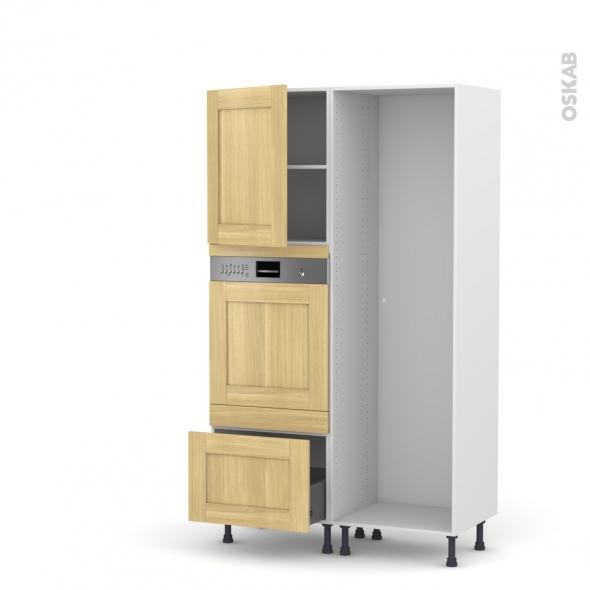BASILIT Bois Brut - Colonne Lave vaisselle - Intégrable - L60xH195xP58