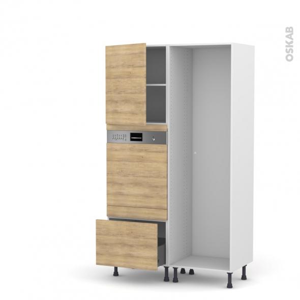 Colonne de cuisine - Lave vaisselle intégrable - HOSTA Chêne naturel - L60 x H195 x P58 cm