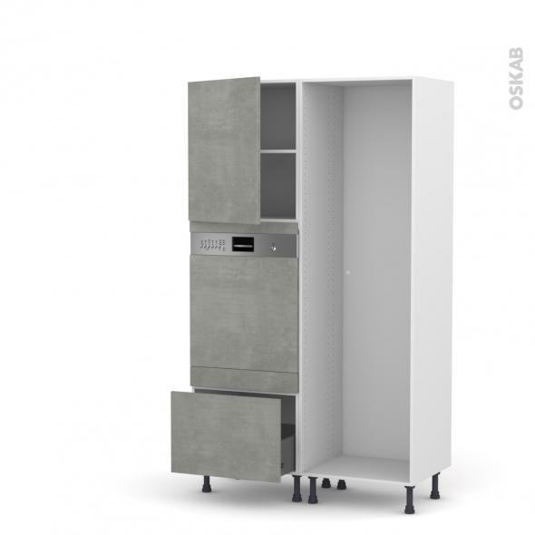 FAKTO Béton - Colonne Lave vaisselle - Intégrable - L60xH195xP58