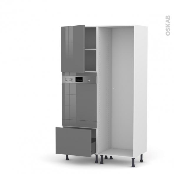 STECIA Gris - Colonne Lave vaisselle - Intégrable - L60xH195xP58