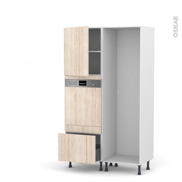Colonne de cuisine - Lave vaisselle intégrable - IKORO Chêne clair - L60 x H195 x P58 cm