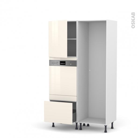Colonne de cuisine - Lave vaisselle intégrable - KERIA Ivoire - L60 x H195 x P58 cm