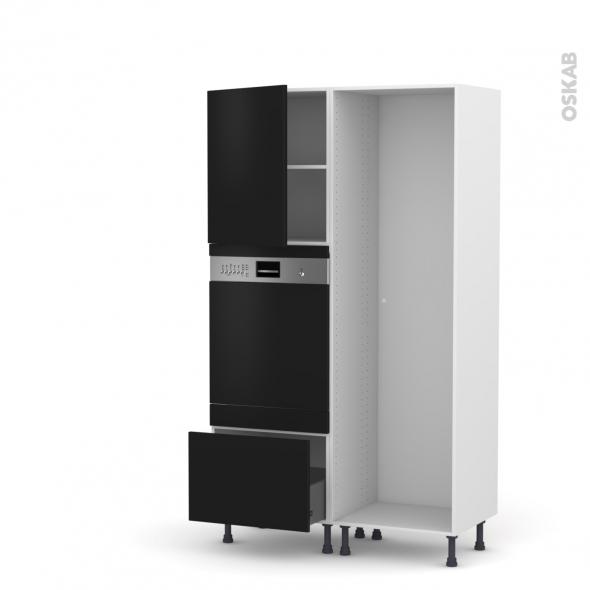Colonne de cuisine - Lave vaisselle intégrable - GINKO Noir - L60 x H195 x P58 cm