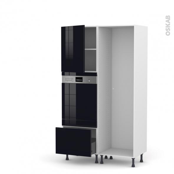 Colonne de cuisine - Lave vaisselle intégrable - KERIA Noir - L60 x H195 x P58 cm