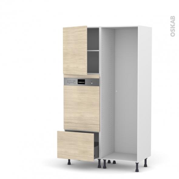 Colonne de cuisine - Lave vaisselle intégrable - STILO Noyer Blanchi - L60 x H195 x P58 cm