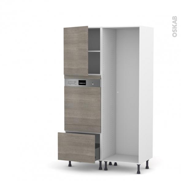 Colonne de cuisine - Lave vaisselle intégrable - STILO Noyer Naturel - L60 x H195 x P58 cm