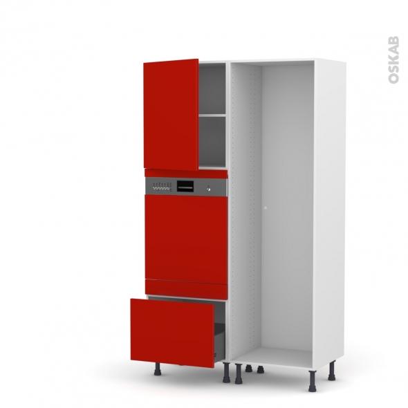 GINKO Rouge - Colonne Lave vaisselle - Intégrable - L60xH195xP58