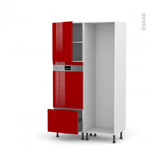 Colonne de cuisine - Lave vaisselle intégrable - STECIA Rouge - L60 x H195 x P58 cm
