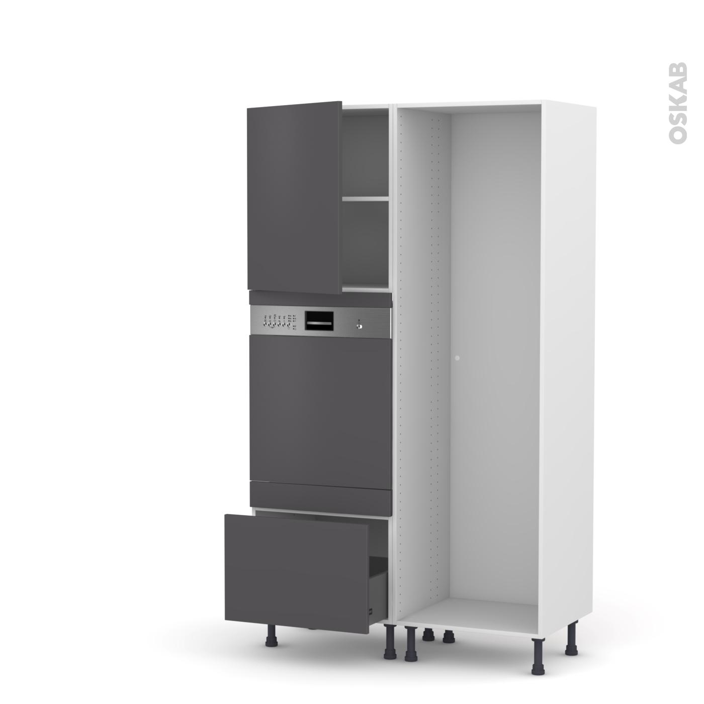 Colonne De Cuisine Lave Vaisselle Intégrable Ginko Gris L60 X H195 X P58 Cm Oskab