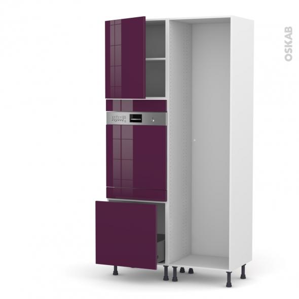 Colonne de cuisine - Lave vaisselle intégrable - KERIA Aubergine -  - L60 x H217 x P58 cm