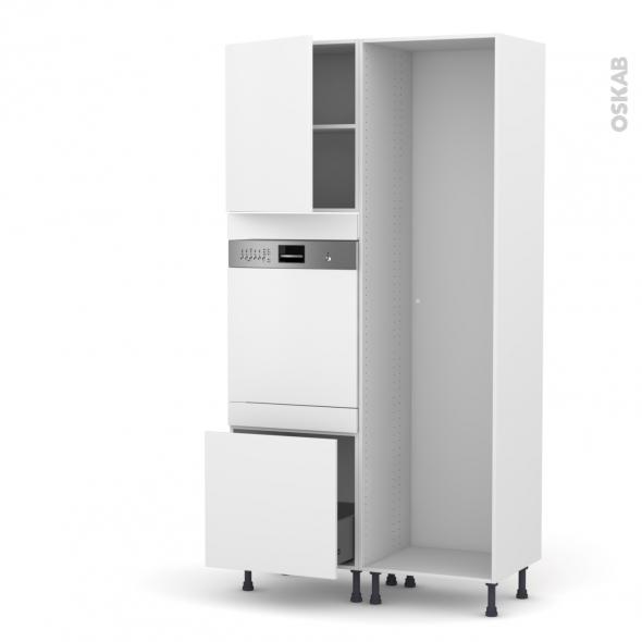 GINKO Blanc - Colonne Lave vaisselle - Intégrable - L60xH217xP58