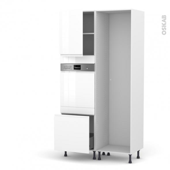 Colonne de cuisine - Lave vaisselle intégrable - IPOMA Blanc -  - L60 x H217 x P58 cm