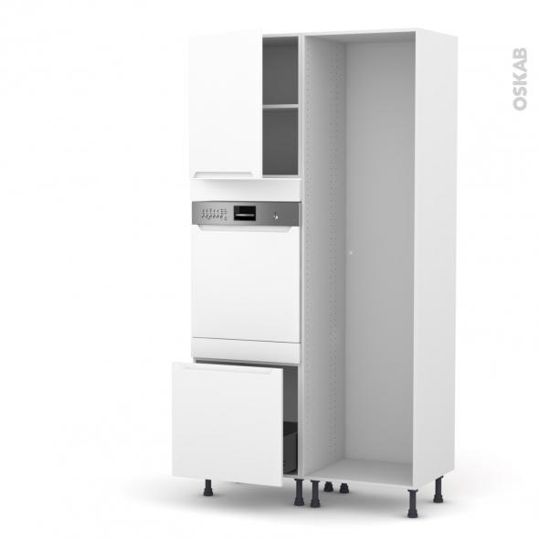 PIMA Blanc - Colonne Lave vaisselle - Intégrable - L60xH217xP58