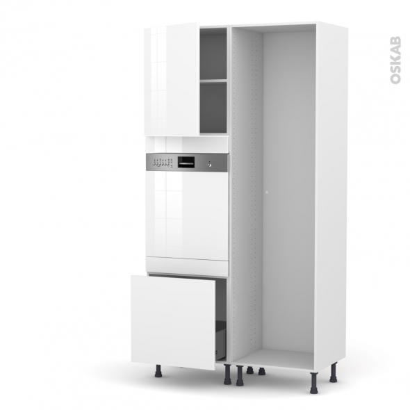 Colonne de cuisine - Lave vaisselle intégrable - STECIA Blanc - L60 x H217 x P58 cm