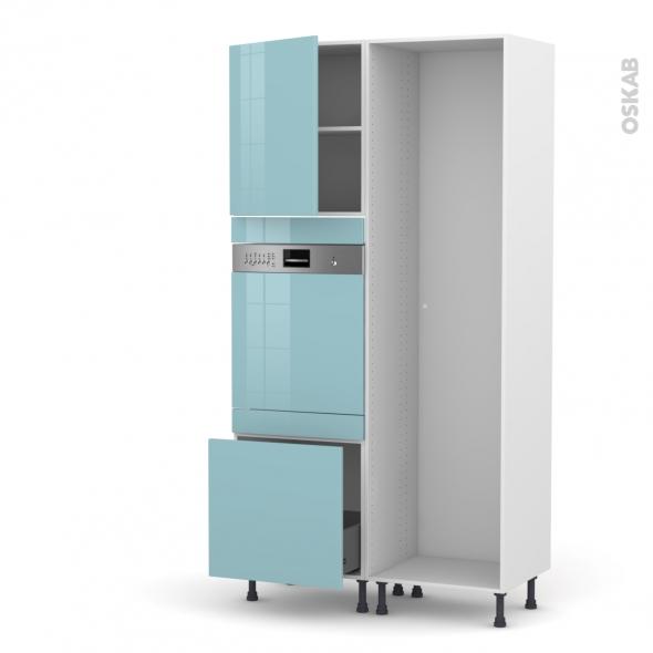 Colonne de cuisine - Lave vaisselle intégrable - KERIA Bleu - L60 x H217 x P58 cm