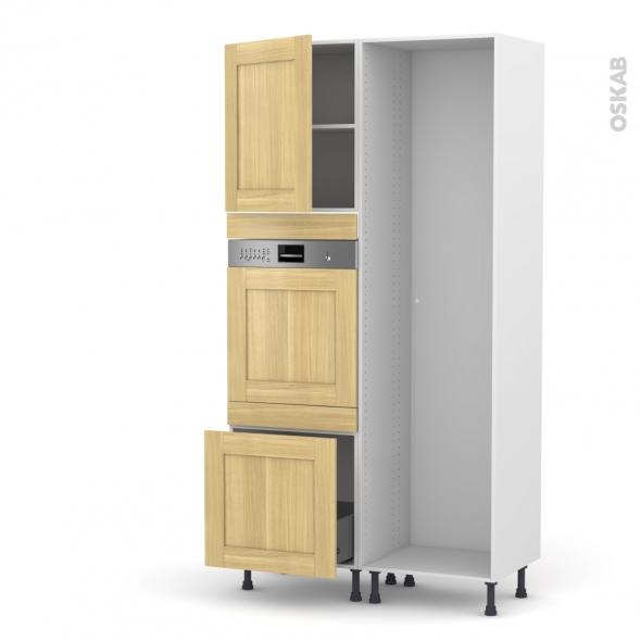 BASILIT Bois Brut - Colonne Lave vaisselle - Intégrable - L60xH217xP58