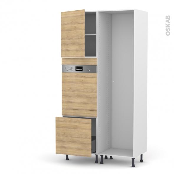 HOSTA Chêne naturel - Colonne Lave vaisselle - Intégrable - L60xH217xP58