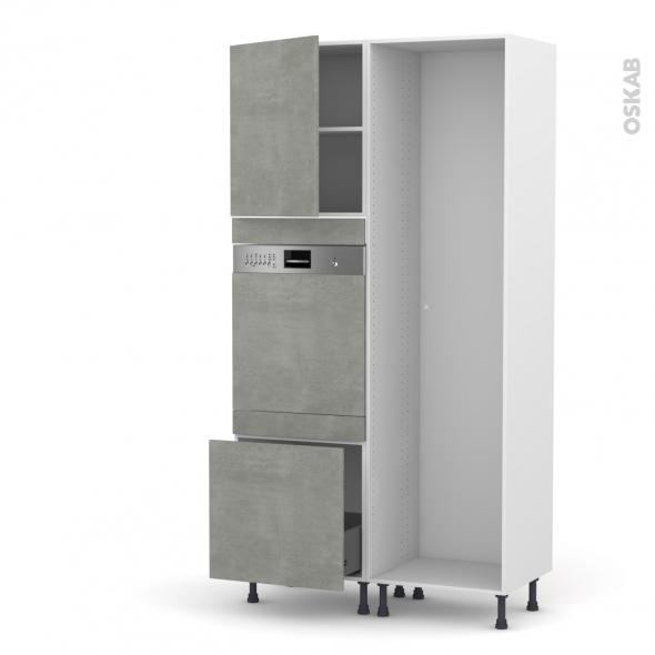 Colonne de cuisine - Lave vaisselle intégrable - FAKTO Béton -  - L60 x H217 x P58 cm