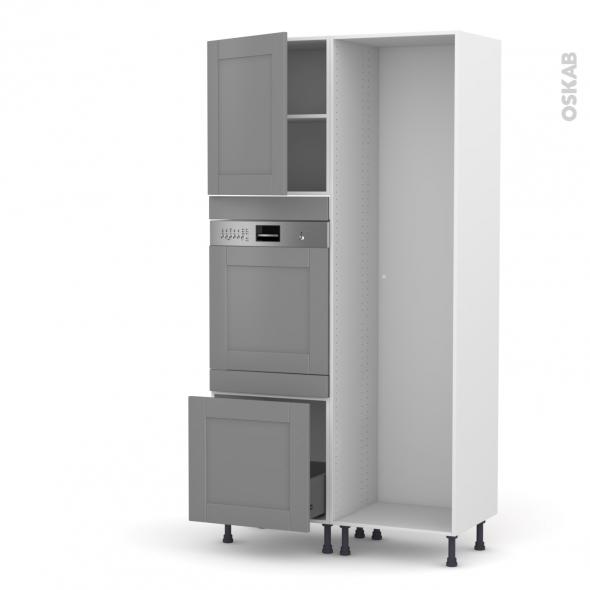 FILIPEN Gris - Colonne Lave vaisselle - Intégrable - L60xH217xP58