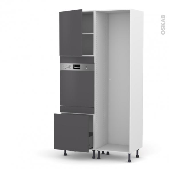 GINKO Gris - Colonne Lave vaisselle - Intégrable - L60xH217xP58