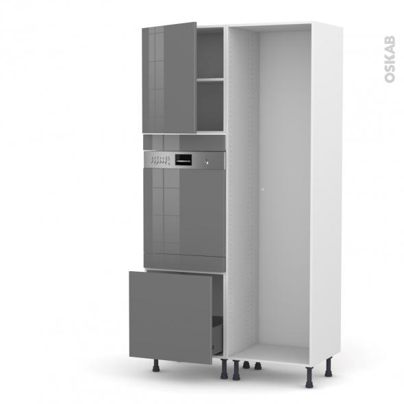 STECIA Gris - Colonne Lave vaisselle - Intégrable - L60xH217xP58
